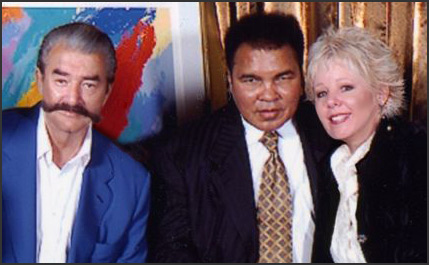 LeRoy Neiman, Muhammad Ali, and Neiman Originals co-owner Holly Garcia