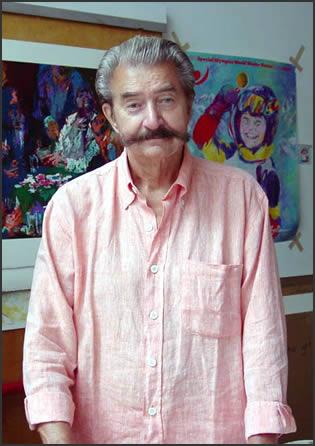LeRoy Neiman in his studio