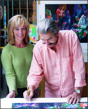Neiman Originals owner Carla Bonney with LeRoy Neiman.