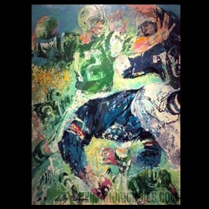 Joe Namath, #12, New York Jets, original art by LeRoy Neiman