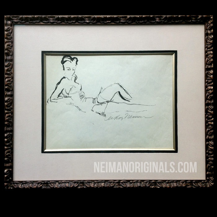 Reclining Woman, original sketch by LeRoy Neiman