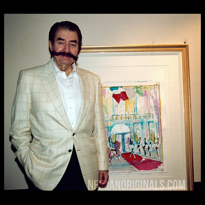Photo of LeRoy Neiman with his sketch of Givenchy
