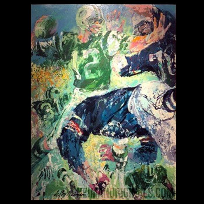 Joe Namath, #12, New York Jets, original art by LeRoy Neiman