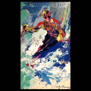 Skiing '71, original oil painting by LeRoy Neiman