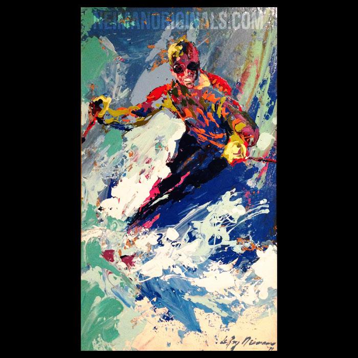 Skiing '71, original oil painting by LeRoy Neiman
